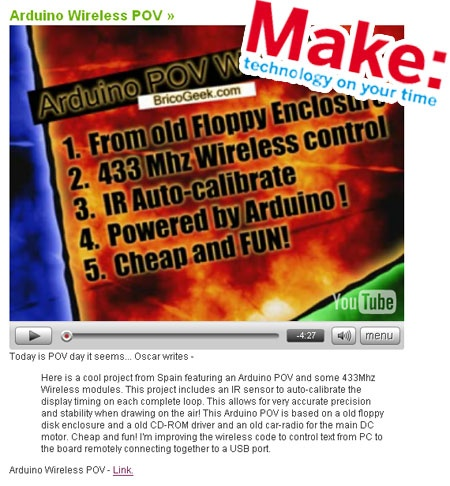 Arduino Wireless POV en portada de Make!